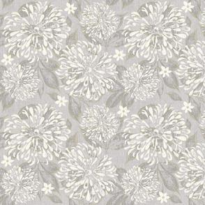 Taupe Grey Ivory Zinnia Garden Linen