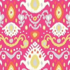 Pink Coral and Yellow Ikat