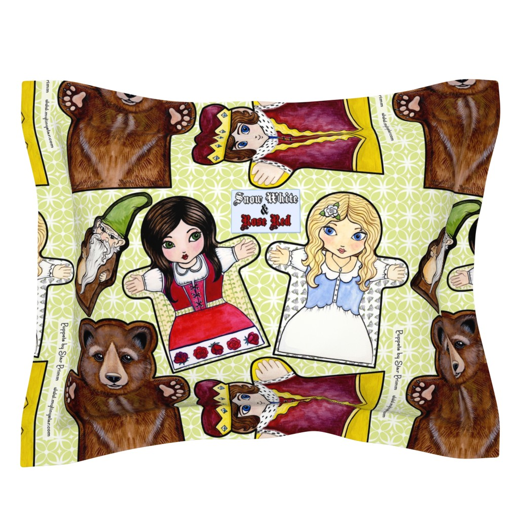Sebright Pillow Sham featuring Snow White and Rose Red Puppets by mytinystar