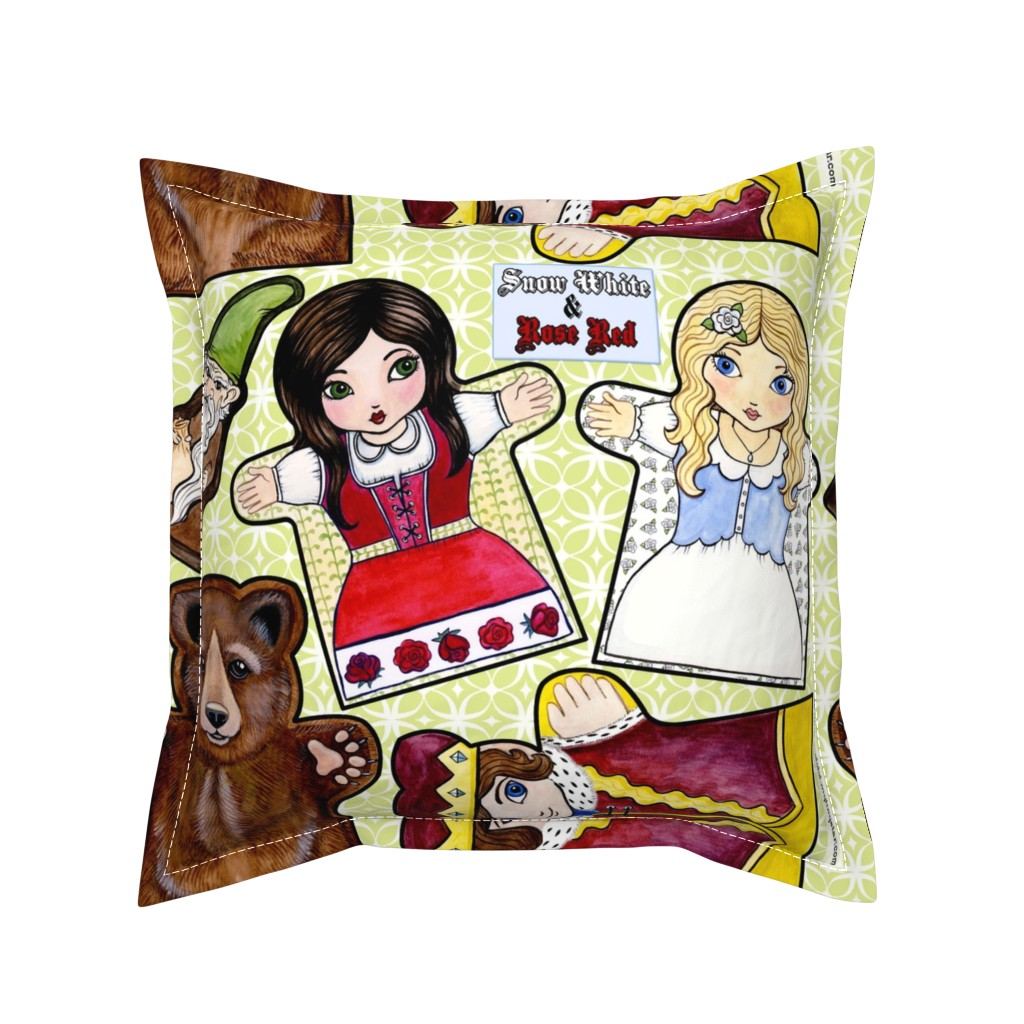 Serama Throw Pillow featuring Snow White and Rose Red Puppets by mytinystar