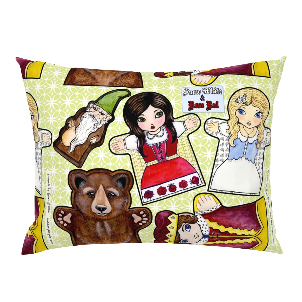 Campine Pillow Sham featuring Snow White and Rose Red Puppets by mytinystar