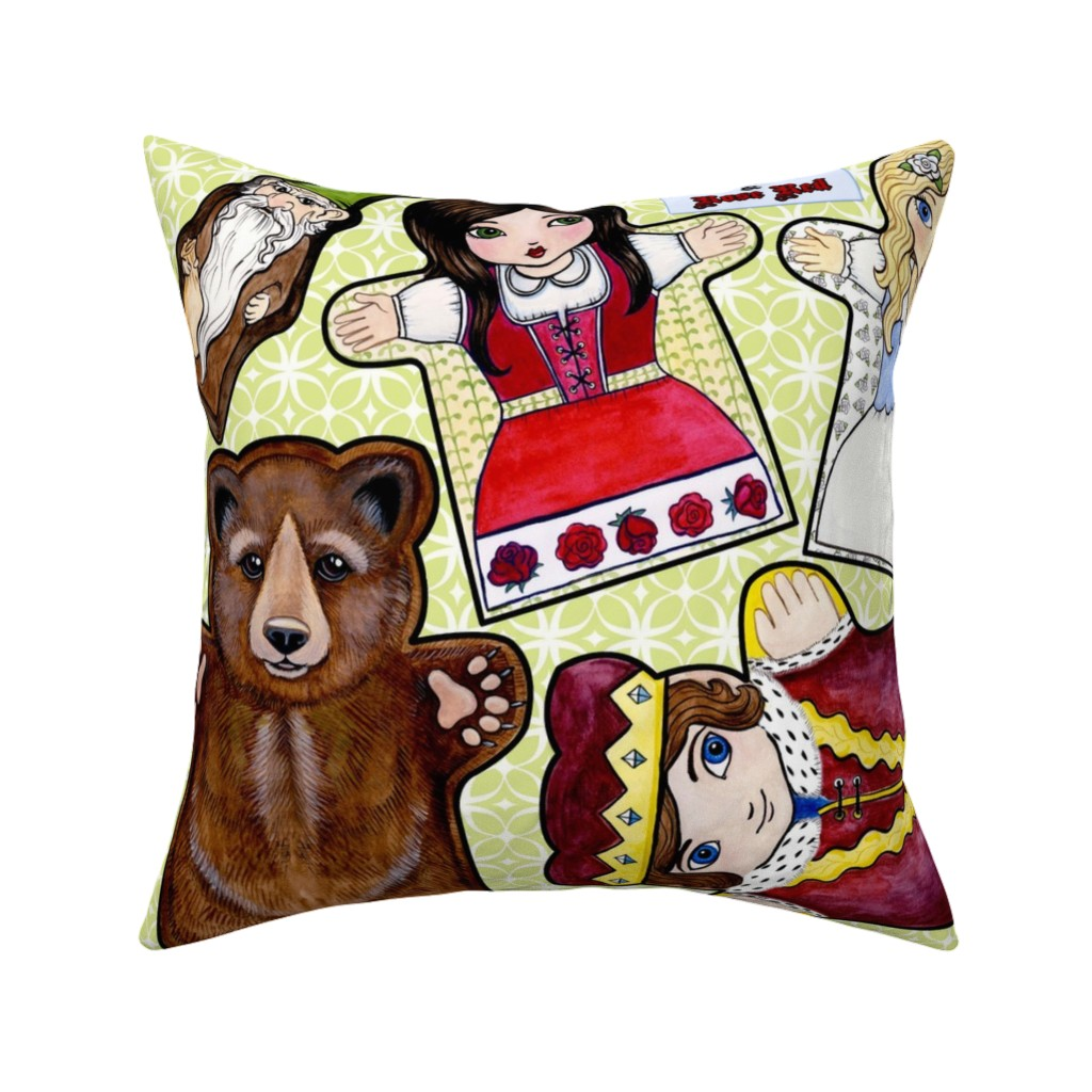 Catalan Throw Pillow featuring Snow White and Rose Red Puppets by mytinystar