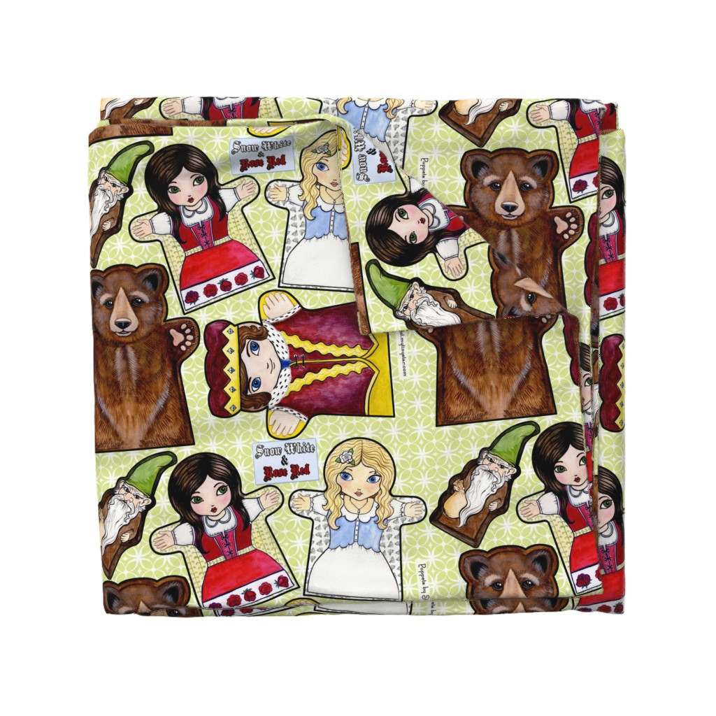 Wyandotte Duvet Cover featuring Snow White and Rose Red Puppets by mytinystar