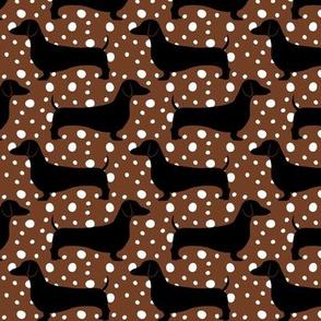 Polka Dachshunds (Brown)