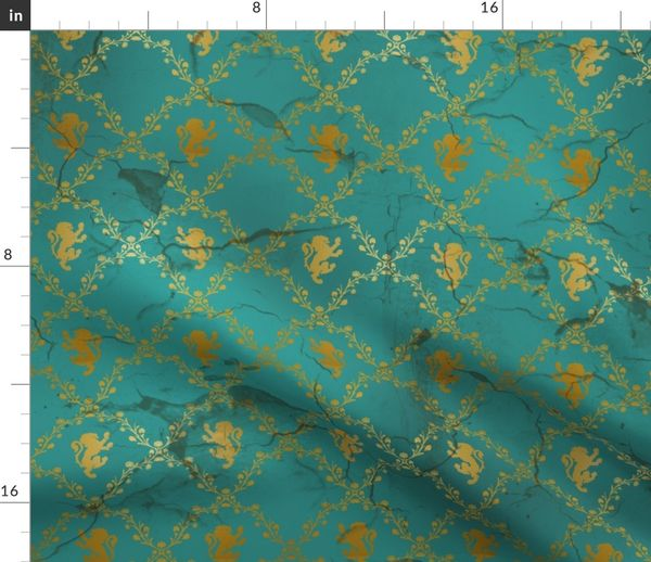 Lion Damask In Teal And Gold Distressed Spoonflower
