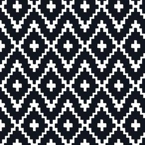 Southwest Diamond Chevron _ White on black