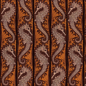 Seahorse Stripe Mosaic ~ Chocolate and Shell Pink