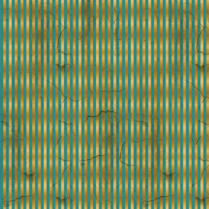 Distressed Stripe Teal and Gold SMALL
