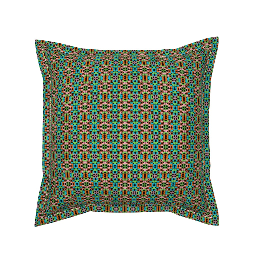 Serama Throw Pillow featuring TUTTI FRUTTI SPRING Small Scale Geometric by paysmage
