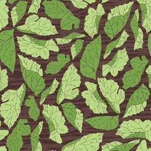 Mulberry Leaves on Woodgrain