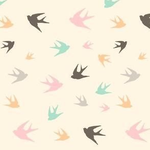 sparrows in flight - aqua / pink / beige / brown / grey