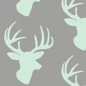 Mint deer on grey