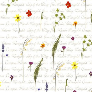 pressed flower fabric