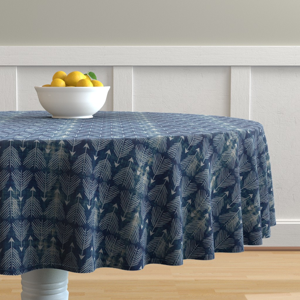Malay Round Tablecloth featuring Django Arrows (indigo) by nouveau_bohemian
