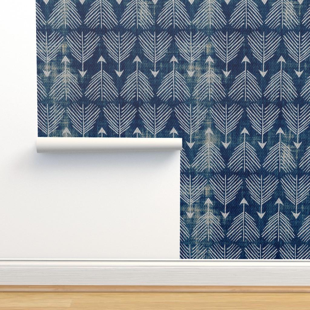 Isobar Durable Wallpaper featuring Django Arrows (indigo) by nouveau_bohemian