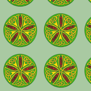 celtic star knot round green gold red