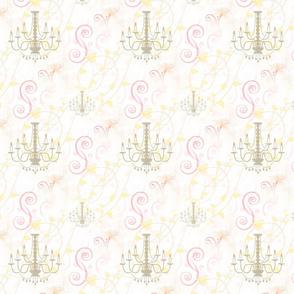 Vintage Chandelier Pink Vines Scrolls