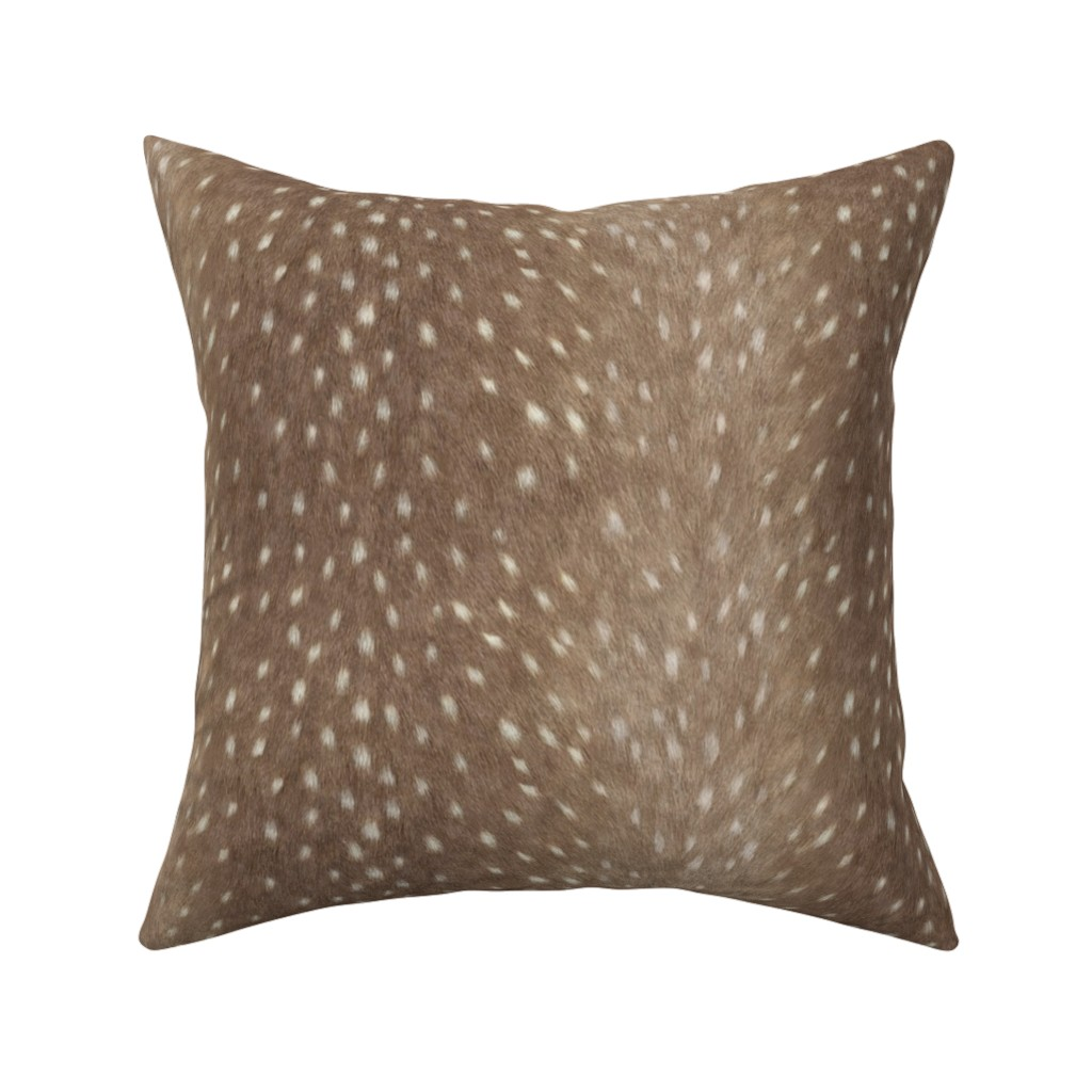 Catalan Throw Pillow featuring Soft Deer Hide Fabric and Wallpaper in Taupe by willowlanetextiles