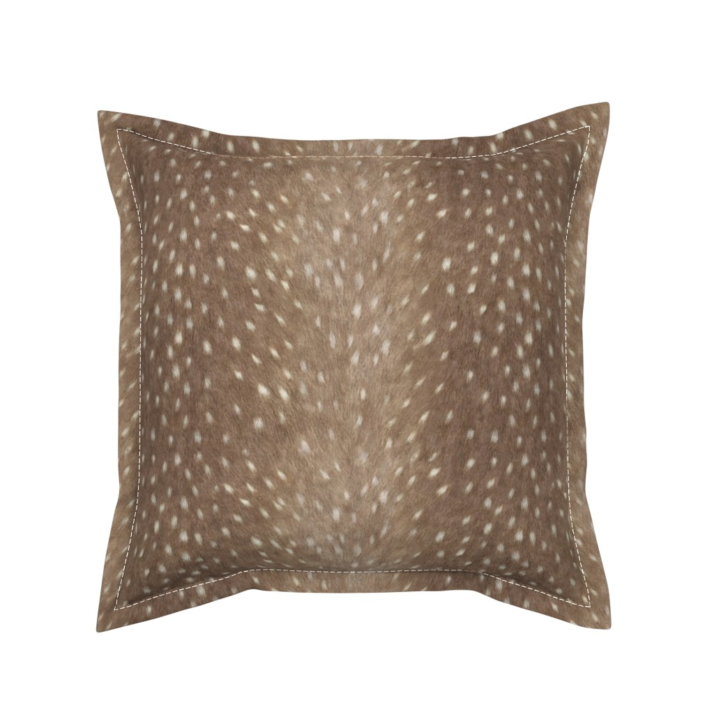 Serama Throw Pillow featuring Soft Deer Hide Fabric and Wallpaper in Taupe by willowlanetextiles