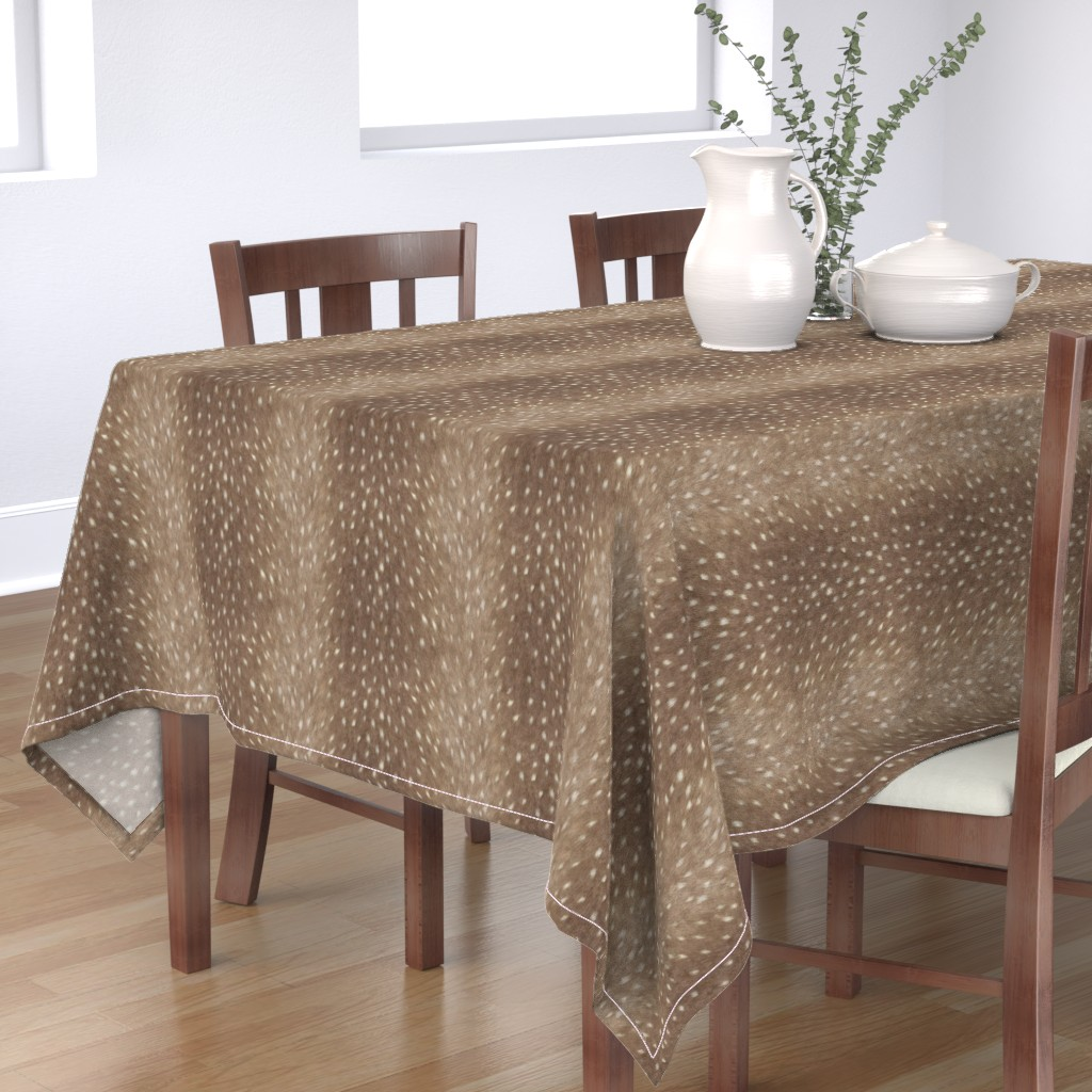 Bantam Rectangular Tablecloth featuring Soft Deer Hide Fabric and Wallpaper in Taupe by willowlanetextiles