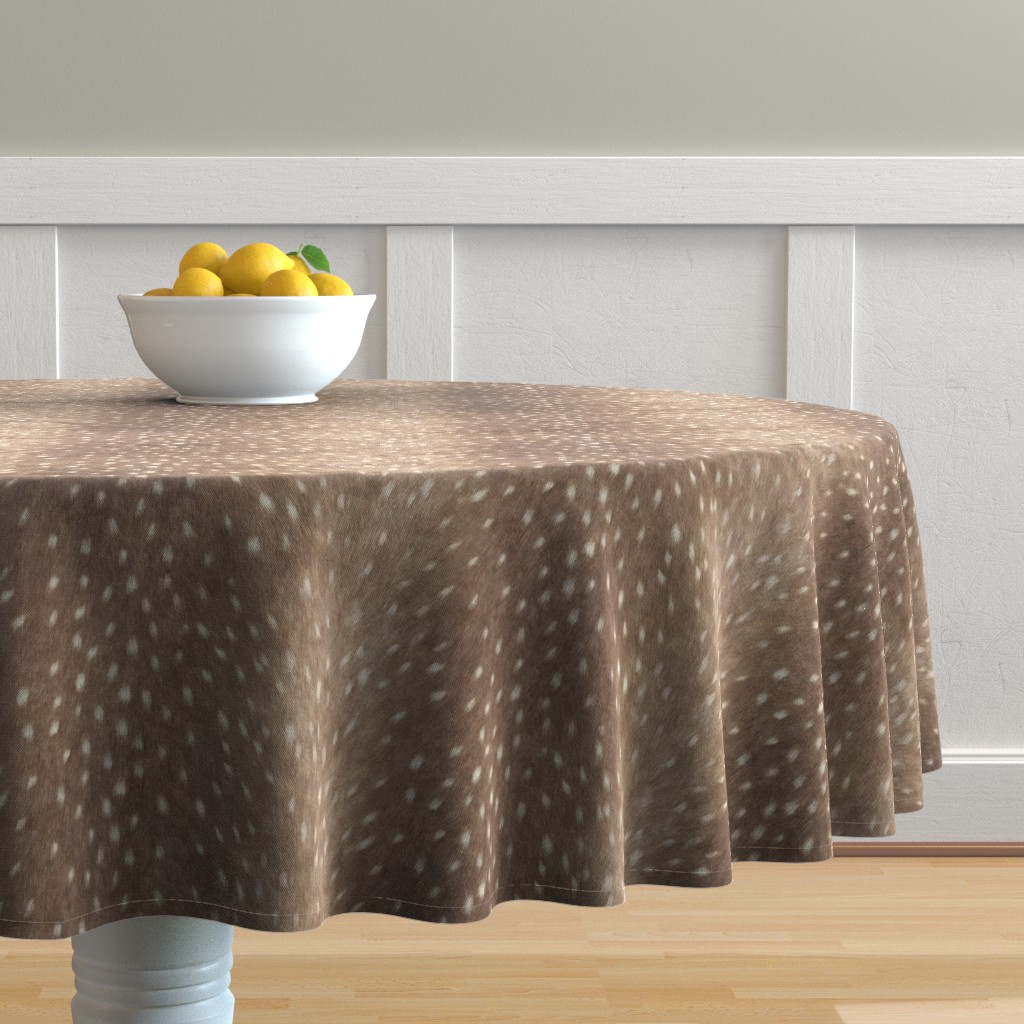 Malay Round Tablecloth featuring Soft Deer Hide Fabric and Wallpaper in Taupe by willowlanetextiles