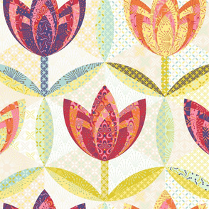 hexagon block tulip cheater quilt - (large) yardage
