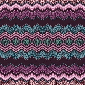 Artdeco roses zigzag pattern