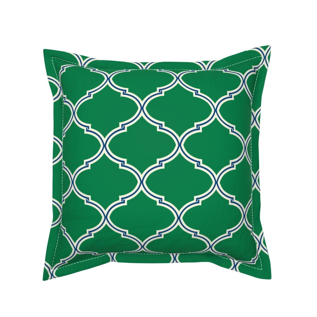 Serama Throw Pillow featuring Lily Trellis in Preppy Green and Navy by willowlanetextiles