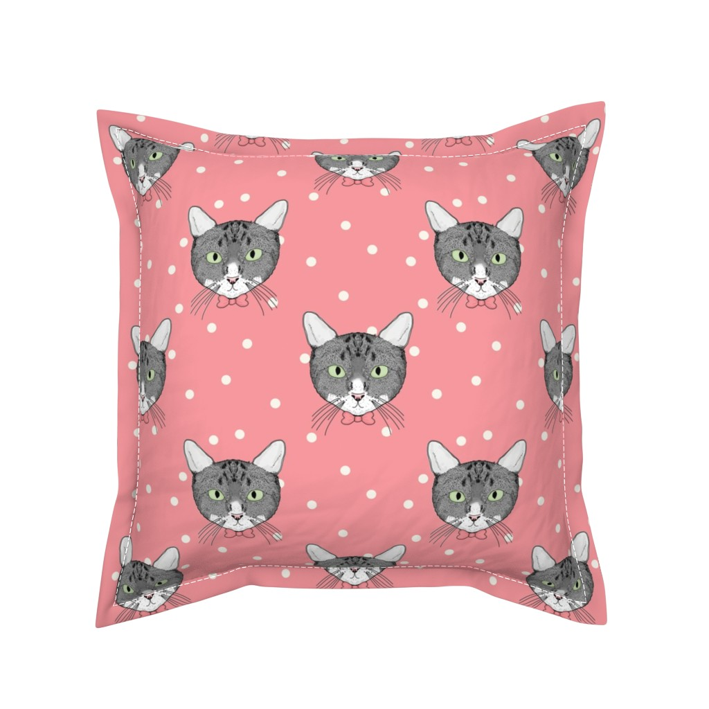Serama Throw Pillow featuring Polka Cats Pink by lydia_meiying