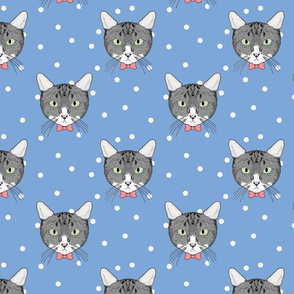 Polka Cats Blue