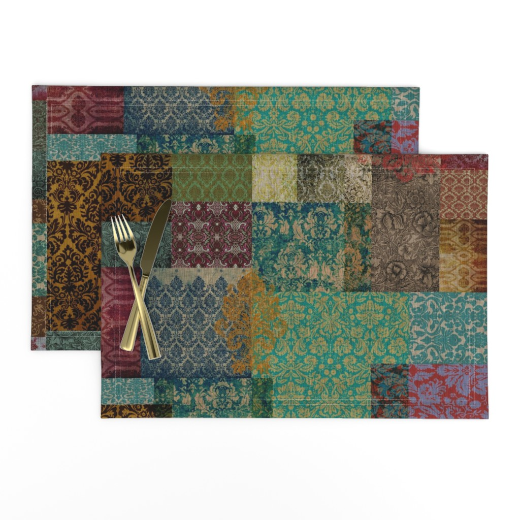 Lamona Cloth Placemats featuring Bohemian Cheater Quilt Patchwork (in Rust and Teal) by nouveau_bohemian