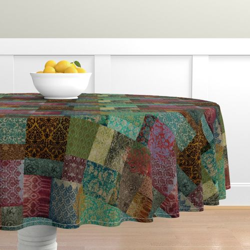 Tablecloth Bohemian Cheater Patchwork Damask Victorian Regal Gypsy Cotton Sateen