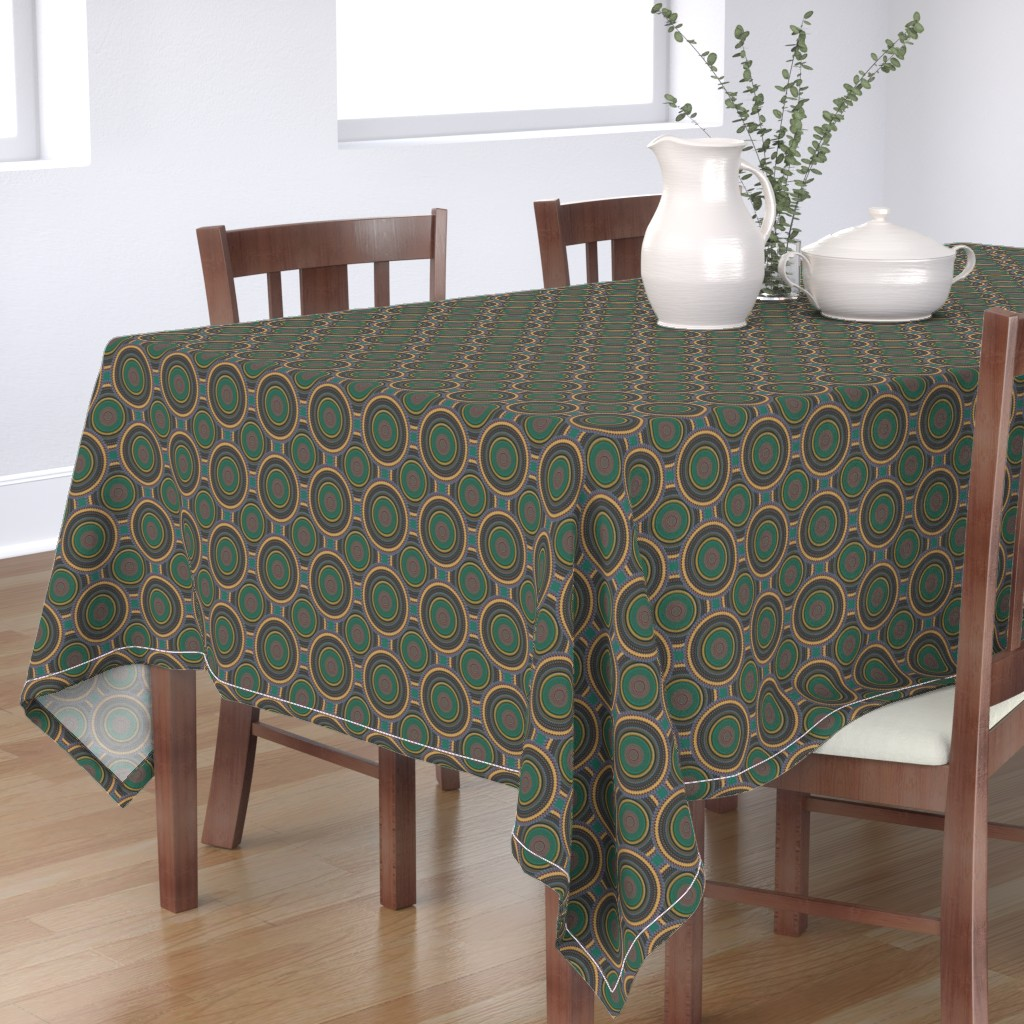 Bantam Rectangular Tablecloth featuring Crop Circles in a Flower Garden by anniedeb