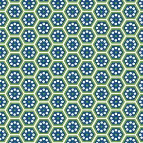 honeycomb blue and green