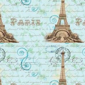 Paris Vintage French Wirting Aqua