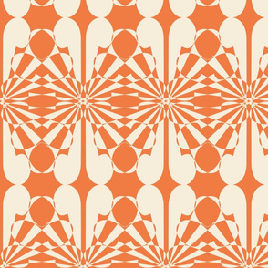 Inverted Searchlights -- in vanilla on tangerine to match cheater patchwork quilt design
