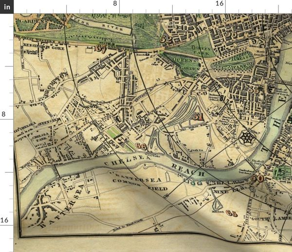 Map Over London.Fabric By The Yard 1820 London Map