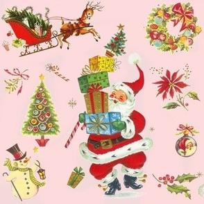 HO HO Happy vintage Christmas Santa