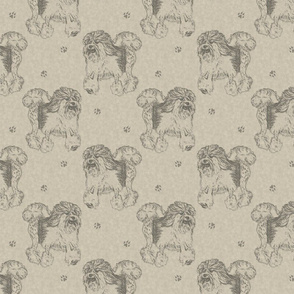 Trotting Lowchen stamps - tan