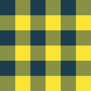 "3"" parka check - yellow and navy"