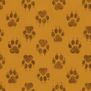 Coyote Pawprints Ochre Gold