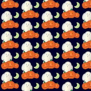 Halloween Retro-Pop Ghost and Pumpkin Scene