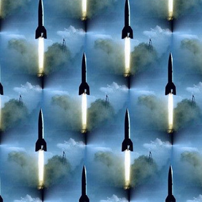 Rocket Launch in Blue