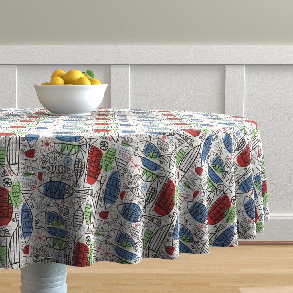 Malay Round Tablecloth featuring Atomic Fish by brightonbelle