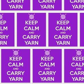 Keep Calm Carry Yarn Knitting - purple panel