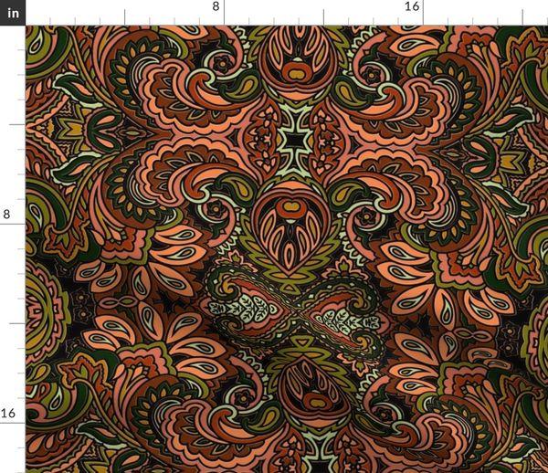 Contemporary Modern Ikat Paisley Geometric Black Teal Burgundy Upholstery Fabric