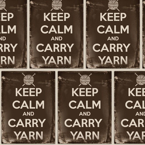 Keep Calm Carry Yarn Knitting - large panel sepia