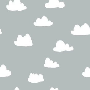 clouds // gray cool scandinavian trendy clouds fabric in grey for minimal baby nursery