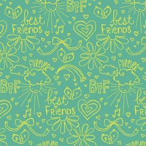 Befriended Doodles Aqua