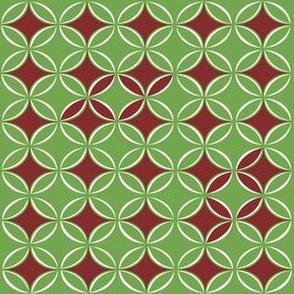 Green and Cranbery Retro Circles